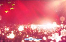 中国印象炫耀发光闪烁粒子五星红旗飘扬 党政类动态背景视频素材