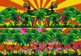 热带风情卡通森林原始部落舞蹈 万花筒舞台背景动态视频(有音乐)