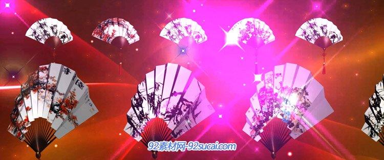 中国画扇子舞折扇翻转动画 LED京剧中国风舞台配景静态视频素材