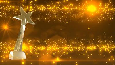 视频素材 高清企业年会颁奖嘉会奖杯星光灿烂舞台殊效配景