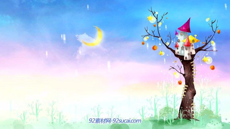 可爱的卡通六一儿童节视频 树上的房子月牙高挂动态背景视频素材