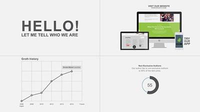 AE模板 企业公司发展历程商务科技图表简短幻灯片字幕展示AE素材