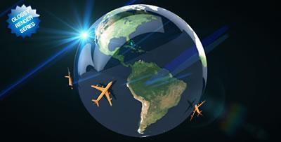 AE模板 地球标志交通运输路线缩略大概预览图演示 AE素材