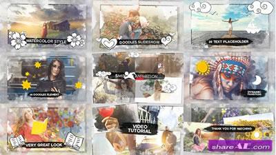 AE模板 水彩渲染扩散幻灯片电子相册特效转场栏目包装展示 AE素材