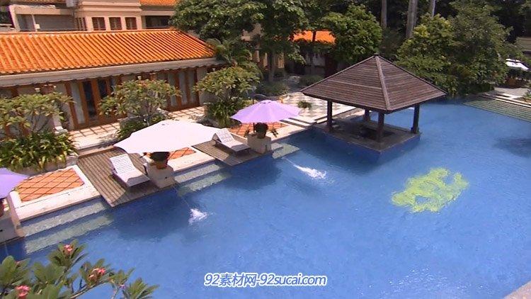 中山温泉酒店度假村 环境优雅休闲空间游泳池温泉池高清实拍视频