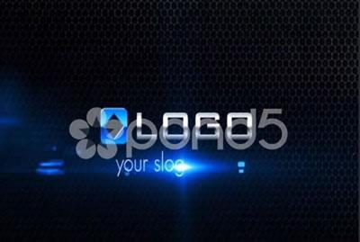 AE模板 黑色企业LOGO标志粒子碰撞发光震荡特效三维动态 AE素材