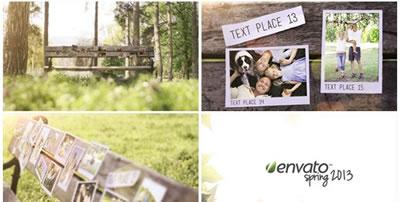 AE模板 寂靜公園清風吹落樹葉飄落長凳草坪照片橫排展示 AE素材