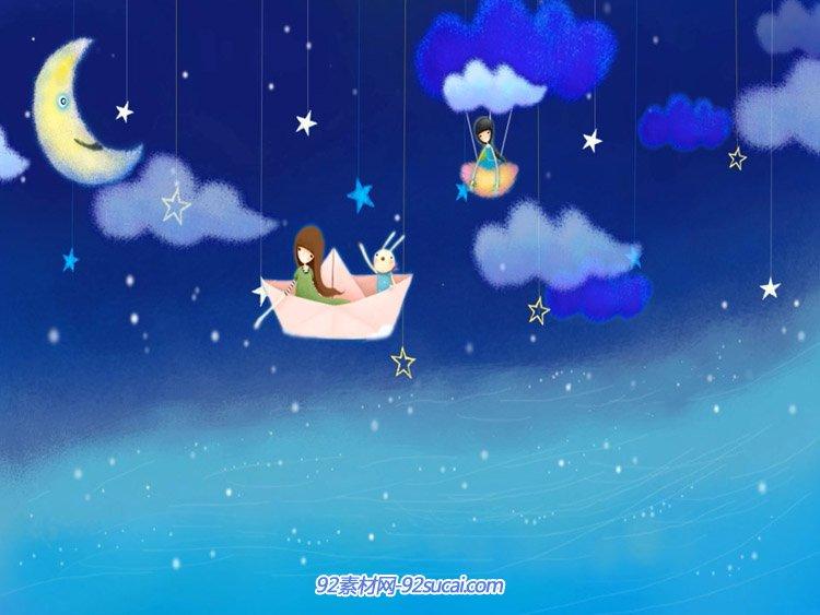 儿童卡通六一节目晚会背景 夜晚月亮星星云朵唯美动态背景视频