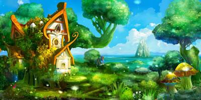 视频素材 唯美绿树蝴蝶小屋舞台背景素材