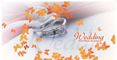 AE模板 浪漫婚礼婚庆典礼请柬钻戒玫瑰字幕标题特效背景 AE素材