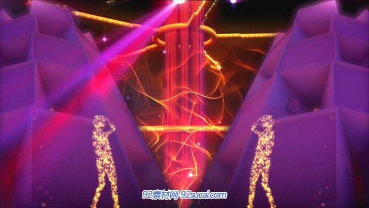 酷炫动感的粒子舞动火焰粒子人物跳舞 酒吧夜场动态背景视频