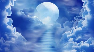 视频素材 云中月亮蓝色中秋节视频婚礼婚庆led大屏幕背景素材团圆