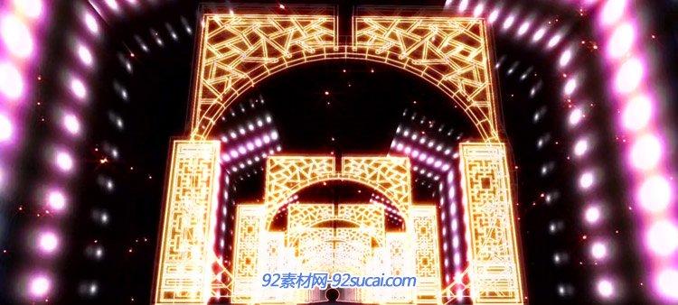 霓虹灯动感炫耀光门隧道 VJ师动态LED背景高清视频素材