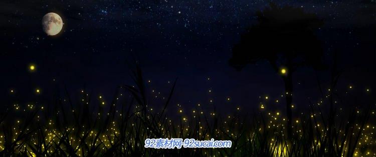 视频素材 浪漫萤火虫月亮唯美夜色风景中秋晚会led背景