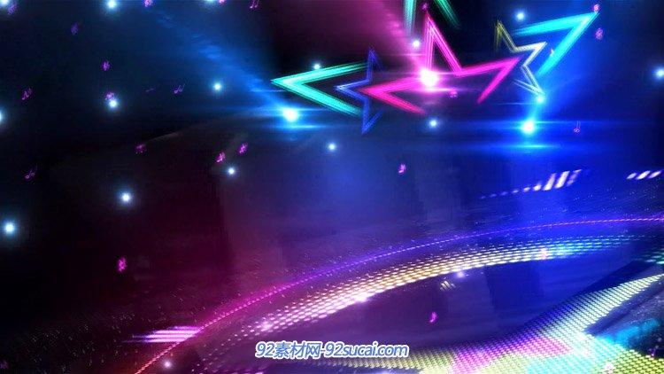 音乐节奏黑胶动感五角星音符跳动炫丽舞台酒吧vj师背景动态视频图片