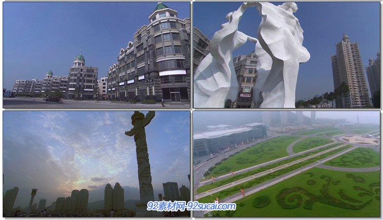 大连风景星海广场游客观光拍照留影喷泉 城市天空居民楼高清实拍