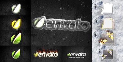 AE模板 燃烧的冰块灼热火焰燃烧特效蒸汽LOGO标志展示 AE素材