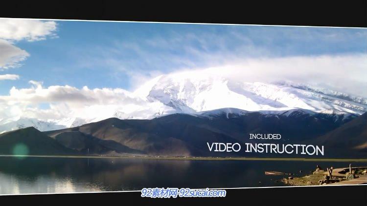 ae模板 实拍风景震撼视觉字幕标题屏幕切割幻灯片特效