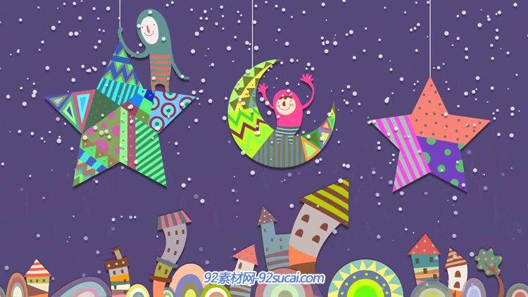 梦幻星月城市童话乐园 雪花飘儿童卡通舞台背景动态视频