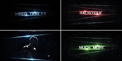 AE模板 炫酷影戏收场片头字幕标题闪光金属碰撞震荡殊效 AE素材