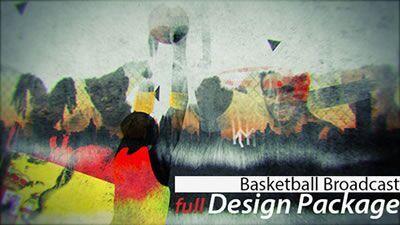 AE模板 篮球体育节目现场直播字幕条水墨画风格展示 AE素材
