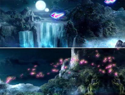 神秘梦幻的瀑布蝴蝶飞舞 传奇歌曲夜空中秋圆月背景动态视频