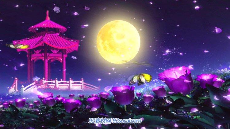 唯美夜色风景 凉亭金黄月亮色花丛蝴蝶飞舞中秋圆月动态视频