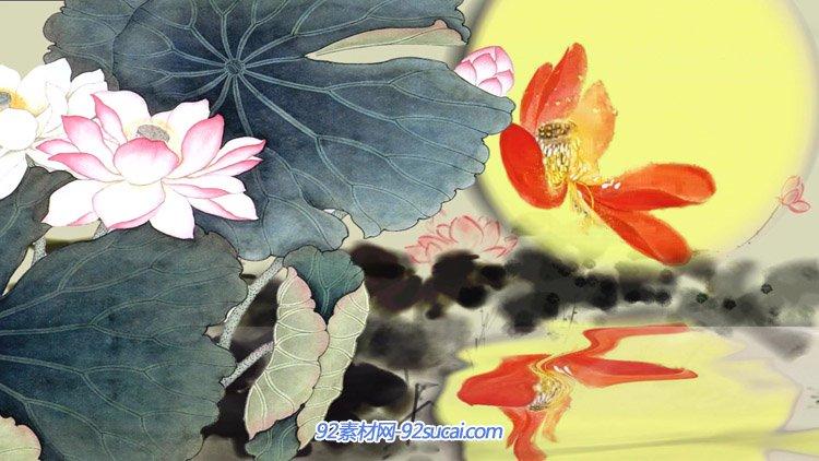 中秋圆月 中国风水墨荷花写意水中倒影舞台背景动态视频