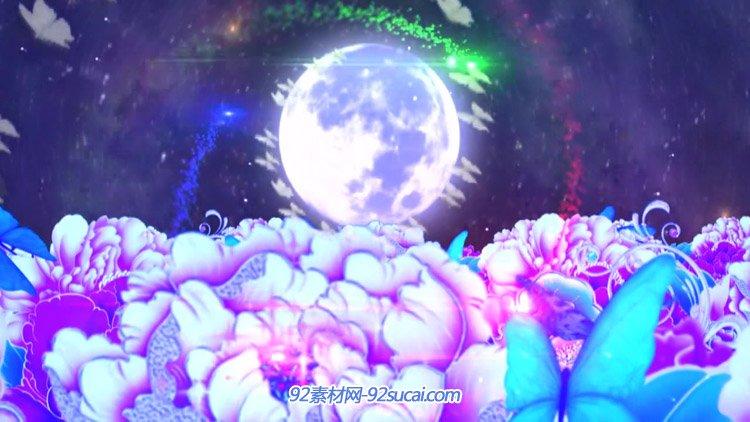 中秋大圆月亮牡丹花 七彩粒子旋转蝴蝶飞舞晚会开场动态背景视频