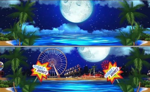 难忘今宵晚会退场春晚谢幕 海边沙滩椰树天空圆月高清动态视频