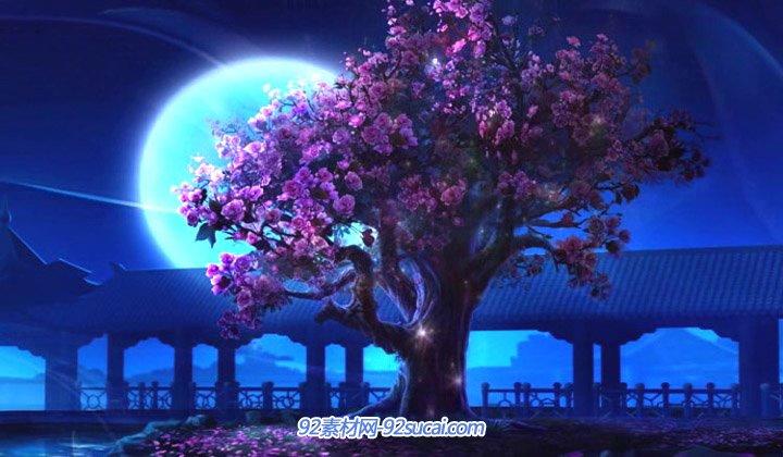 优美梦幻月色 凉亭屋檐大树唯美大圆月亮 中秋背景动态视频素材