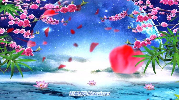 梦七夕 唯美梦幻大气月色桃花源桃花飘落舞台背景动态视频素材