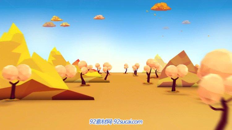 金黄色秋天的风景 道路两旁的小树山坡儿童卡通动态背景视频素材