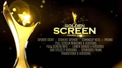 AE模板 电影节目开场片头金色奖杯颁奖典礼幻灯片屏幕切割 AE素材