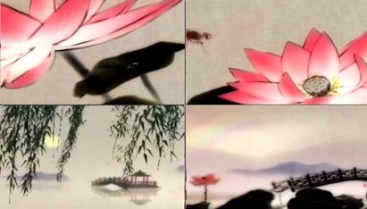 中国风清晨浓雾荷花蜻蜓拱桥凉亭 杨柳山水水墨视频背景-有音乐