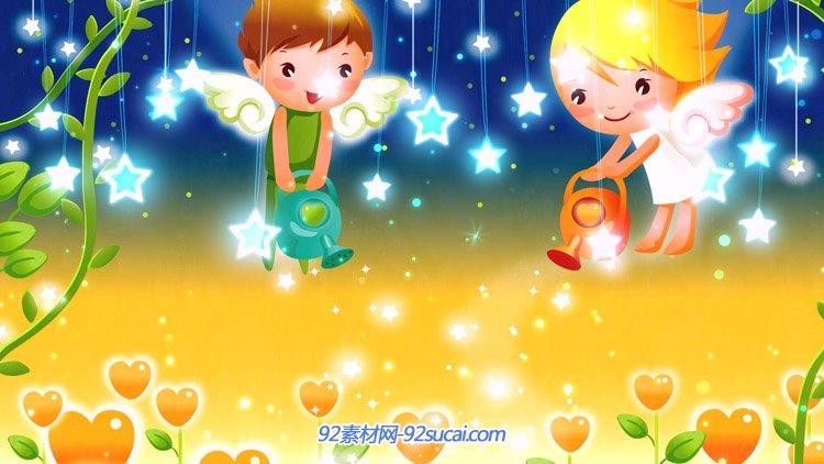 卡通儿童宝宝盛宴六一儿童节小天使浇花星星闪闪舞台背景动态视频