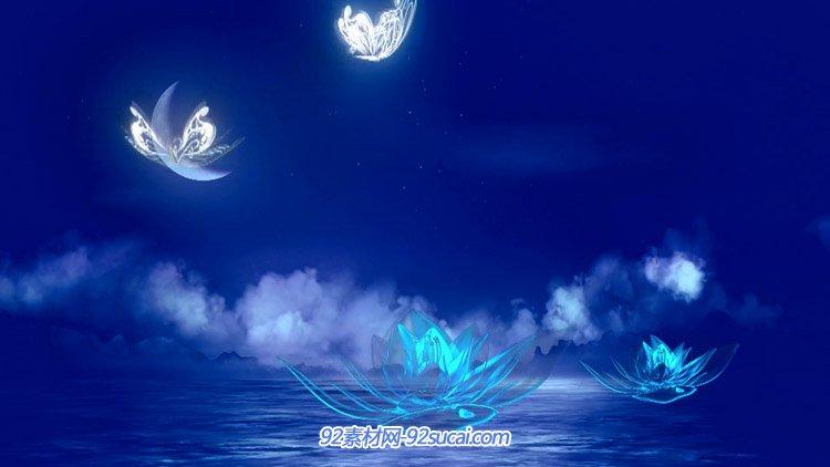 水晶荷花荧光蝴蝶蓝色梦幻大海月牙 高清舞台背景动态视频素材