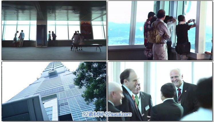 台湾101大楼企业形象宣传片 高楼建筑商务城市航拍夜景烟花实拍