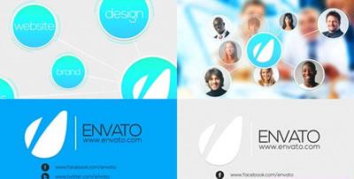 AE模板 科技商务图表合作同伴干系属性图幻灯片引见 AE素材