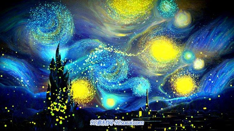 梦幻蓝色梵高星空粒子动画 LED舞台背景高清动态背景视频素材