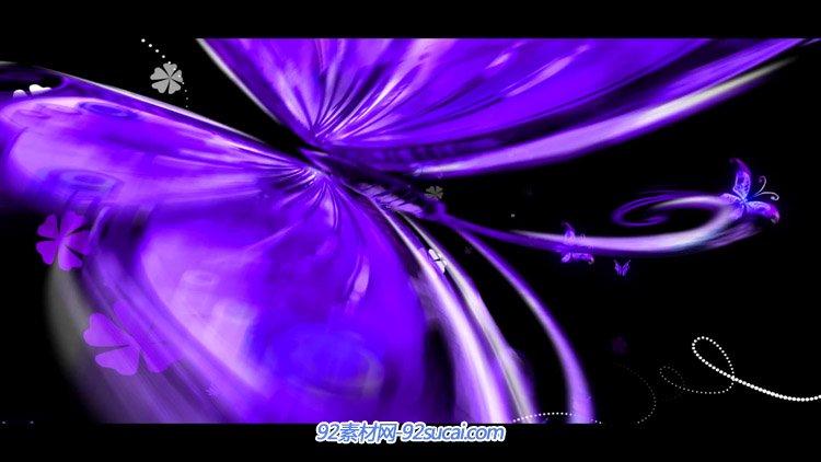 紫色漂亮的蝴蝶群飞舞 浪漫婚庆婚礼舞台动态背景视频素材