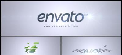 AE模板 简洁商务企业LOGO标志闪光背景组合特效展示 AE素材