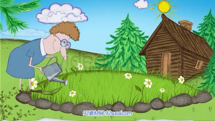 AE模板 心爱卡通动漫动画春天远足儿童生长记载电子相册 AE素材