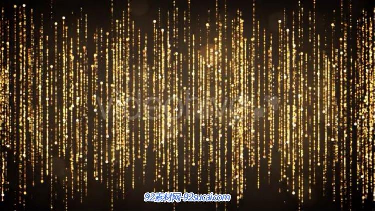 金色粒子幕帘瀑布特效 led大屏幕婚礼婚庆舞台背景动态视频素材