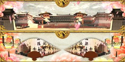 贵妃醉酒大唐皇宫 中国风复古大气舞台背景动态视频素材