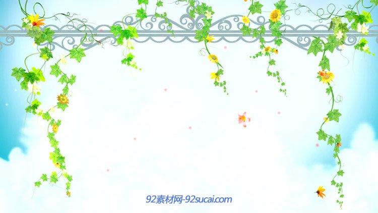 唯美艺术花藤花边 花朵飘落高清背景动态视频素材