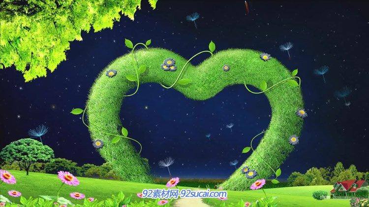 绿色环保大自然爱心花环 小花草地蒲公英飞舞婚庆动态背景视频