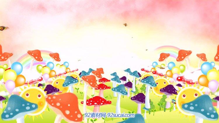 卡通蘑菇林 蝴蝶飞舞动画 六一儿童节舞台背景动态视频素材