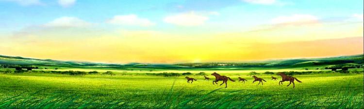 内蒙古大草原蓝天白云草地马羊成群奔跑蒙古民族舞台背景动态视频