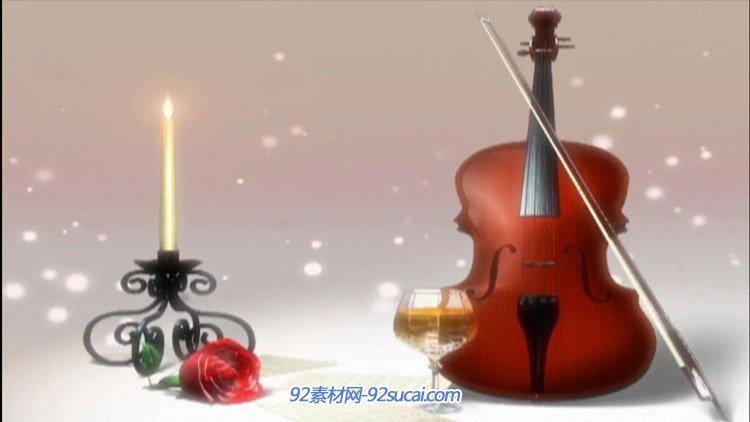唯美意境小提琴与烛台 玫瑰香槟浪漫爱情婚礼婚庆动态背景视频